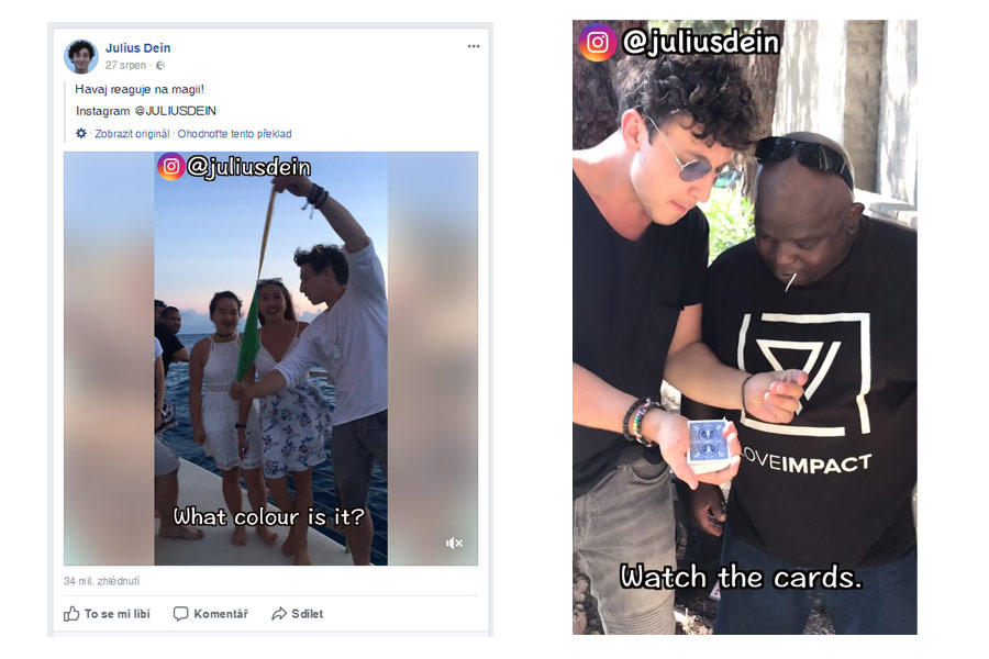 Julius Dein, Facebook a Instagram star