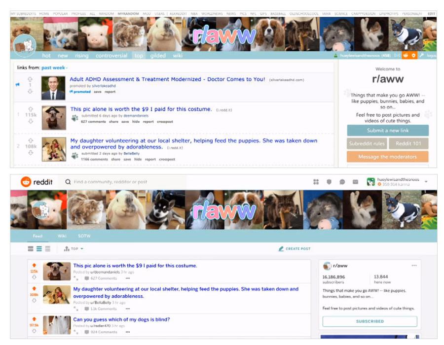 Redesign homepage Reddit