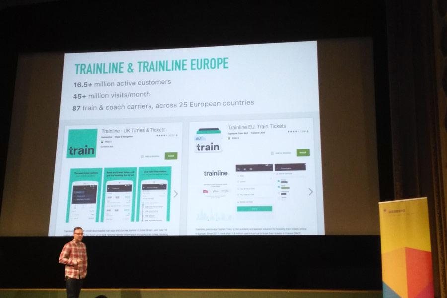 Jan Štůrek představující aplikaci Trainline